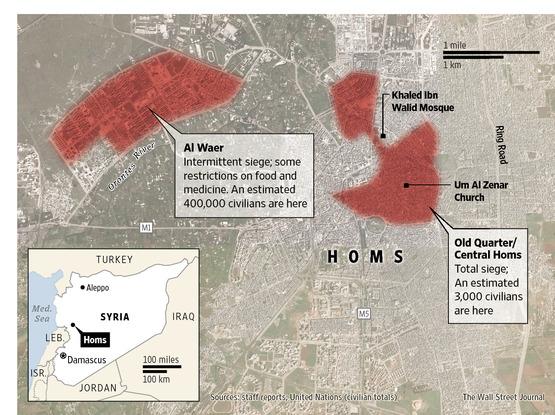 συνοικίες υπό πολιορκία στη Χομς